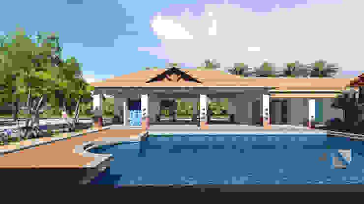 Casa RG - piscina, salon de eventos, vestir y baños. de ARQUITECTOnico