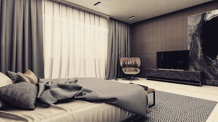 Спальни в . Автор – Polka architecture studio