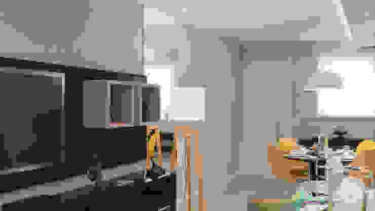 apartamento pequeno, sala, cores, mesa redonda, cadeiras Eiffel Salas de estar modernas por Lúcia Vale Interiores Moderno