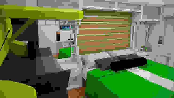 Apartamento pequeño con espacios multifuncionales y/o convertibles Cuartos de estilo moderno de Rbritointeriorismo Moderno