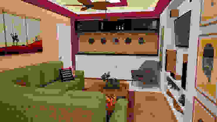 Apartamento pequeño con espacios multifuncionales y/o convertibles Salas de estilo moderno de Rbritointeriorismo Moderno