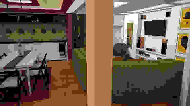 Apartamento pequeño con espacios multifuncionales y/o convertibles Comedores de estilo moderno de Rbritointeriorismo Moderno