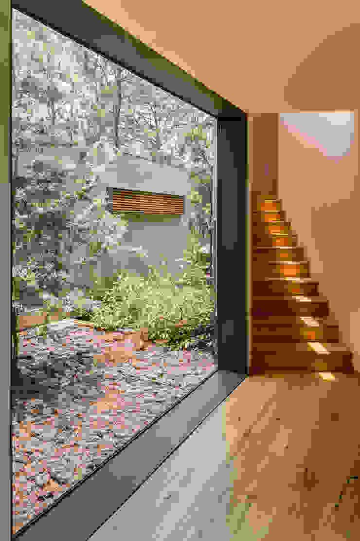 Acceso a volumen de recámaras - Casa 5 Pasillos, vestíbulos y escaleras escandinavos de Weber Arquitectos Escandinavo