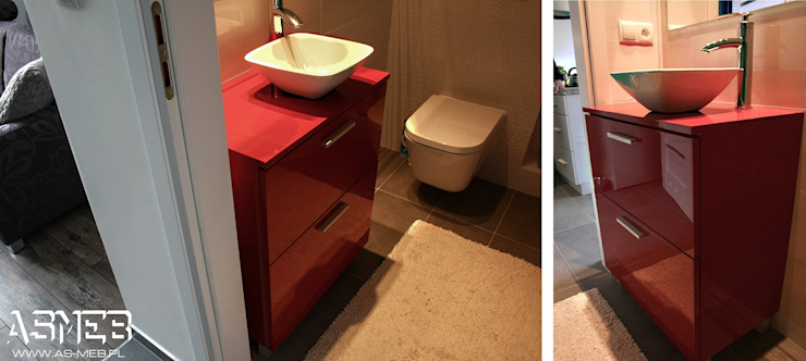 AS-MEB Classic style bathroom MDF Red