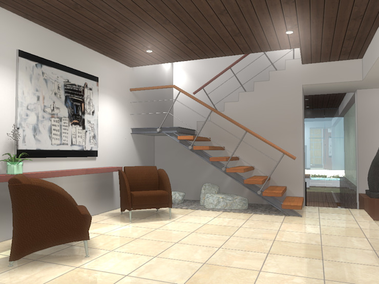 RECEPCION CASA MP Pasillos, vestíbulos y escaleras minimalistas de AD+d Minimalista