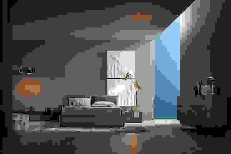 Modernes Schlafzimmer mit dunklen Möbeln, Lederbett und goldenen Lampen Livarea Moderne Schlafzimmer