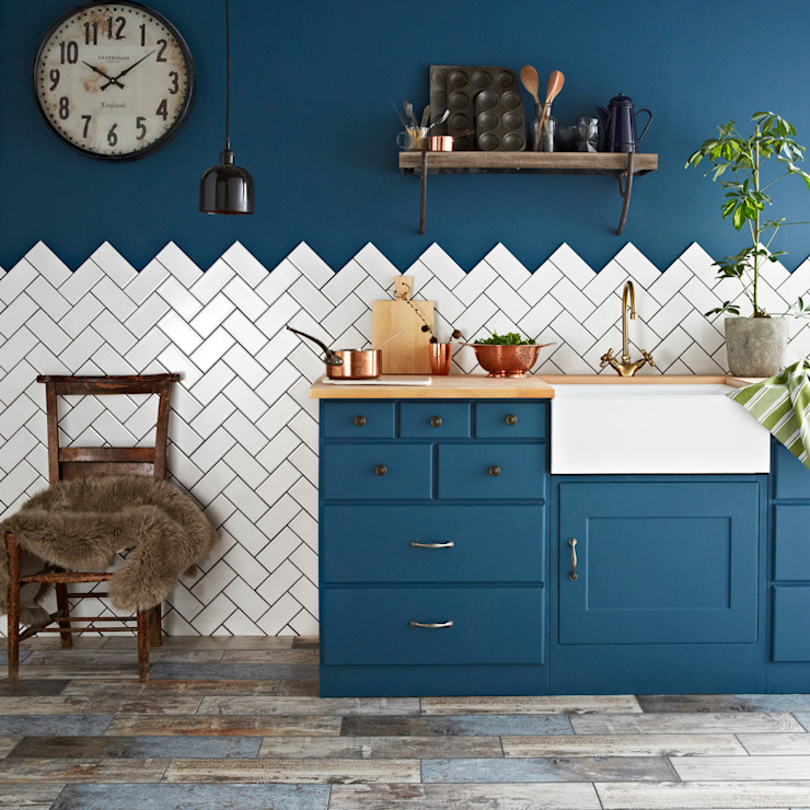 White Antique Crackle Metro Tiles par Walls and Floors Ltd Classique Céramique