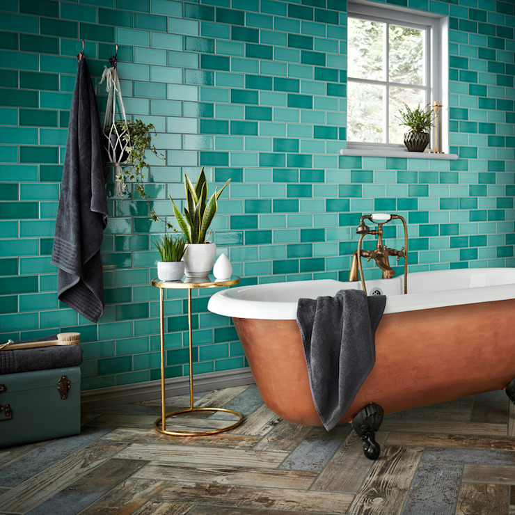 Teal Antique Crackle Metro Tiles von Walls and Floors Ltd Klassisch Keramik