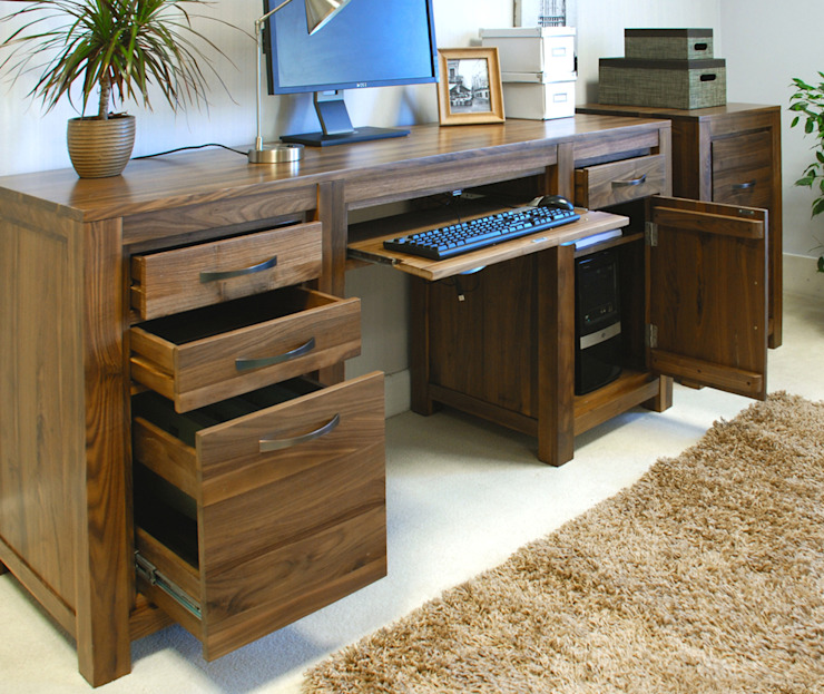 Stunning solid walnut twin pedestal desk: modern  by The Wooden Furniture Store, Modern Wood Wood effect