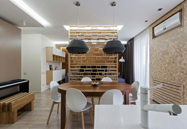 Wooden Accent Modern Dining Room by EUGENE MESHCHERUK | architecture & interiors Modern