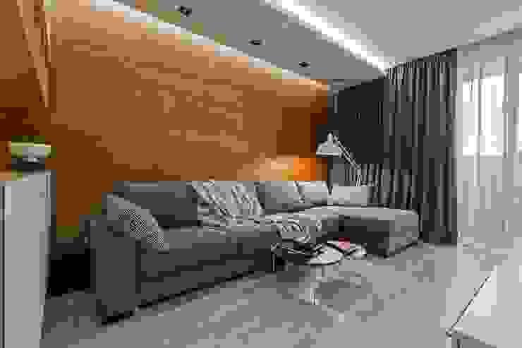 Wooden Accent Modern Living Room by EUGENE MESHCHERUK | architecture & interiors Modern