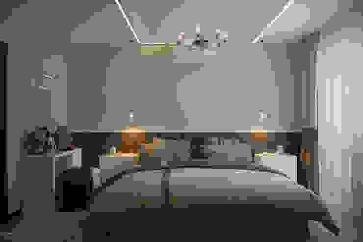 Дизайн спальни в ЖК по ул. Казбекская Спальня в стиле минимализм от Студия интерьерного дизайна happy.design Минимализм