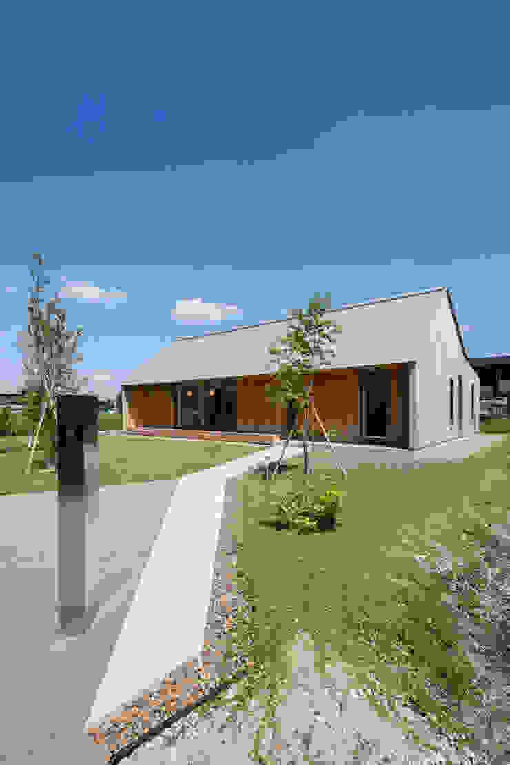 南東アプローチ/夏 オリジナルな 家 の hm+architects 一級建築士事務所 オリジナル 木 木目調