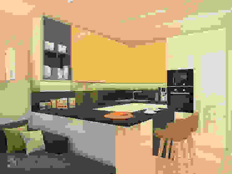 Трехкомнатная в ЖК Медный Всадник Кухня в стиле модерн от Design interior OLGA MUDRYAKOVA Модерн
