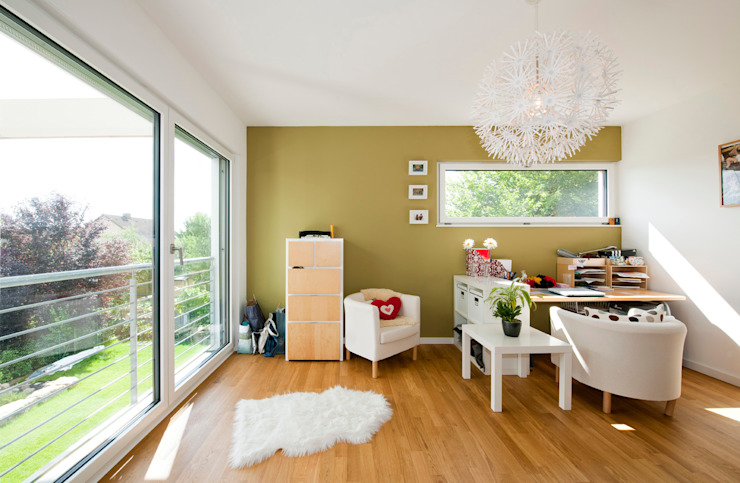 Modern Study Room and Home Office by KitzlingerHaus GmbH & Co. KG Modern Engineered Wood Transparent