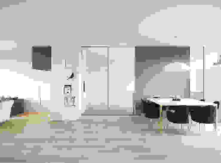 Вид на столовую зону Столовая комната в стиле минимализм от ECOForma Минимализм Алюминий / Цинк