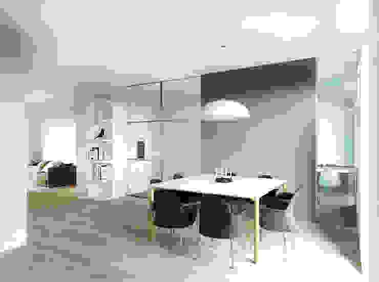 Вид на гостиную и столовую Столовая комната в стиле минимализм от ECOForma Минимализм Стекло