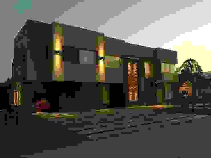 Frente Casas modernas: Ideas, imágenes y decoración de Saleme Sanchez Arquitectos Moderno Piedra
