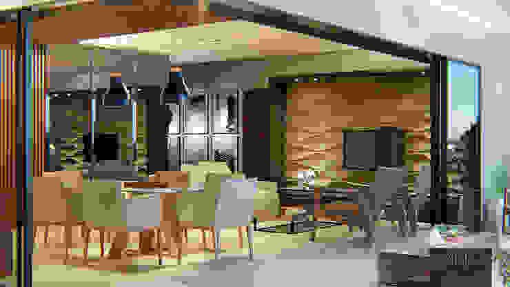 Sala de estar/jantar Habitá Arquitetura Salas de jantar modernas Cinza