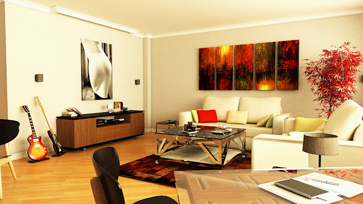 Livings de estilo moderno de İndeko İç Mimari ve Tasarım Moderno