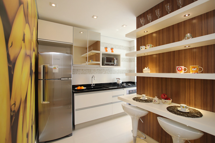 Pricila Dalzochio Arquitetura e Interiores Modern Kitchen White