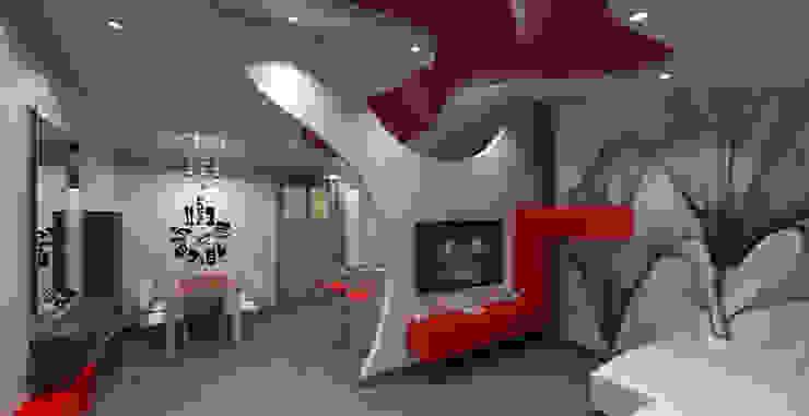Soggiorno Moderno con Parete in Cartongesso e Soffitto Lucido Soggiorno moderno di Geometrie Abitative Moderno