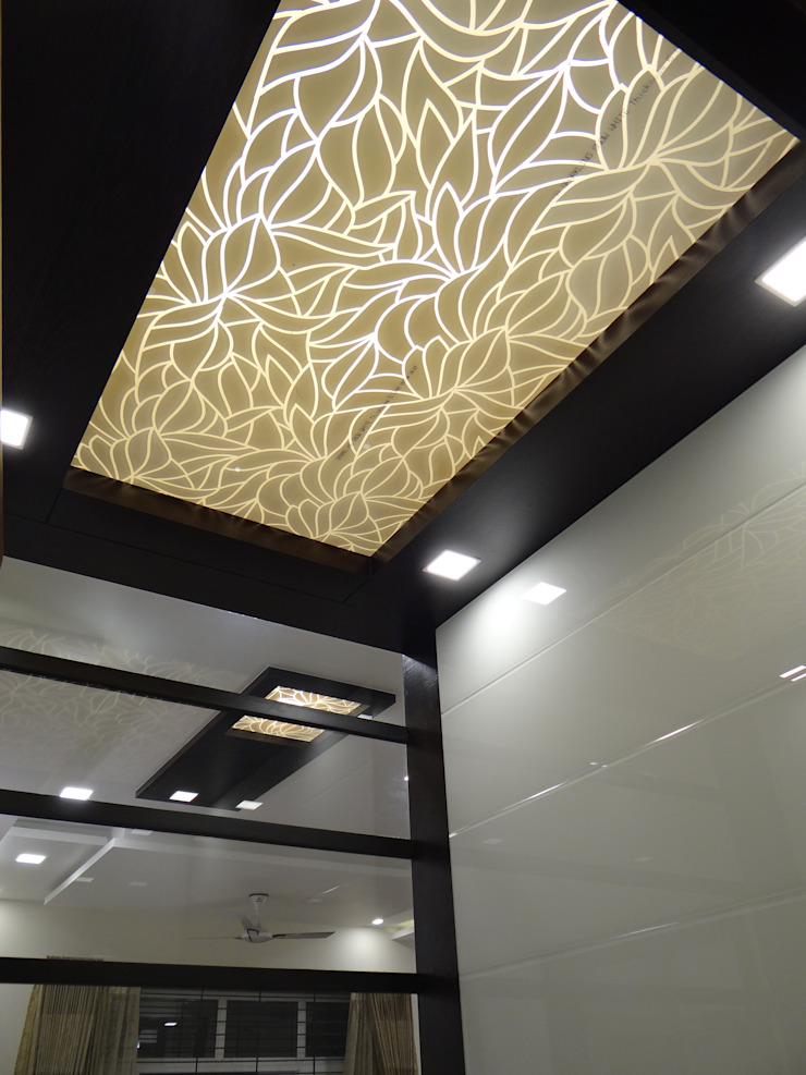Pooja room ceiling Modern corridor, hallway & stairs by Hasta architects Modern