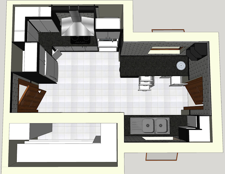 Design Top View including pantry addition. by Boss Custom Kitchens (PTY)LTD