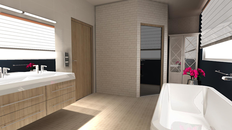 Eclectic style bathrooms by BIURO PROJEKTOWE JERZY SEROKA Eclectic Bricks