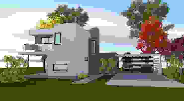 Vista Acceso Casas de estilo minimalista de ARQvision BIM Sustainable Architecture Minimalista