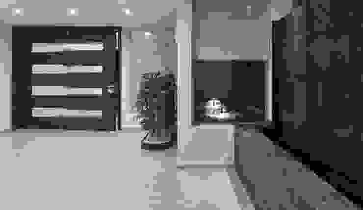 MURO CON FUENTE DE AGUA Pasillos, vestíbulos y escaleras modernos de Excelencia en Diseño Moderno Piedra