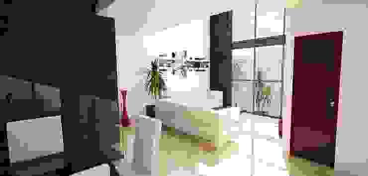 Sala en doble altura Casas modernas de PRISMA ARQUITECTOS Moderno Concreto