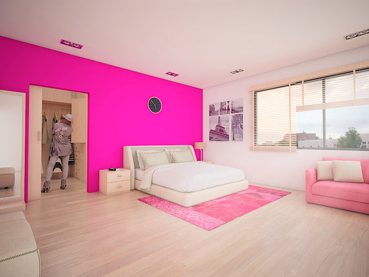 Recamara Hija Dormitorios modernos de PRISMA ARQUITECTOS Moderno Ladrillos