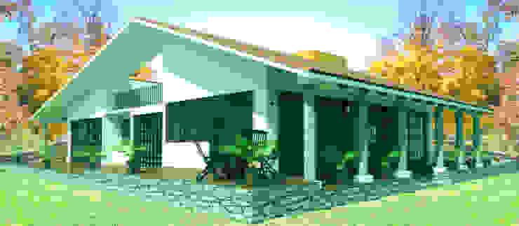 fachada 2 Casas rústicas de PRISMA ARQUITECTOS Rústico Ladrillos