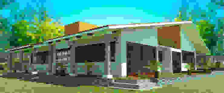 Fachada lateral Casas rústicas de PRISMA ARQUITECTOS Rústico Ladrillos