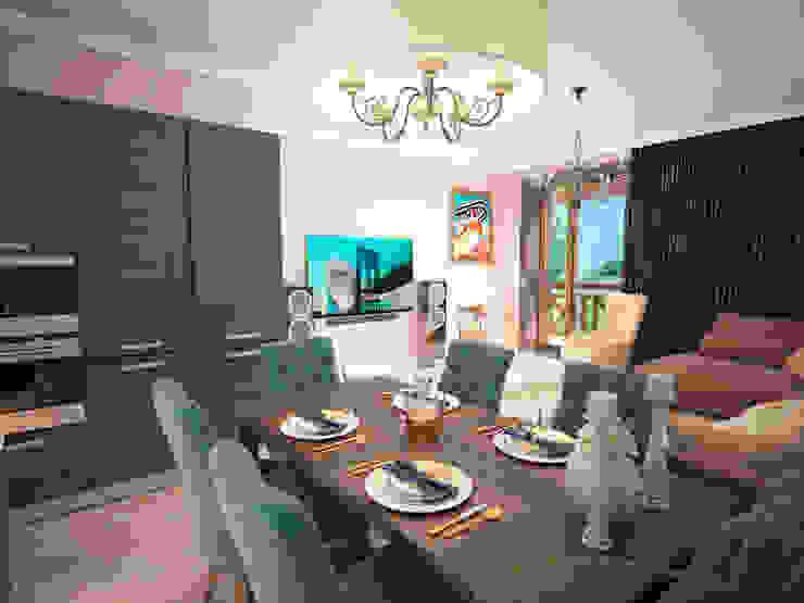 Гурьянова Наталья Cocinas de estilo moderno Madera Azul