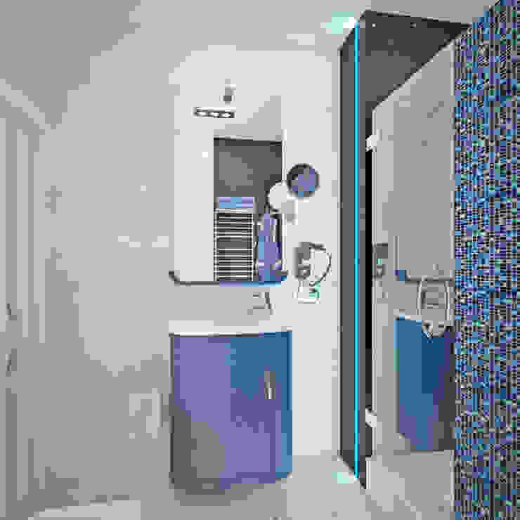 Гурьянова Наталья Baños de estilo moderno Azulejos Azul