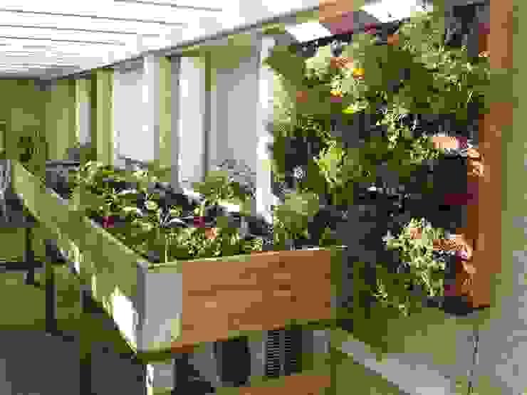 Mesa de cultivo de carpintería. Balcones y terrazas rústicos de Agrópolis Jardín Rústico Madera Acabado en madera