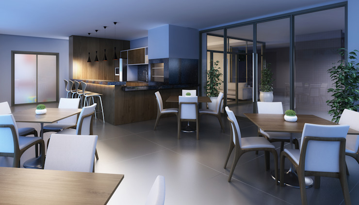 Salão de festas Salas de jantar modernas por André Petracco Arquitetura Moderno