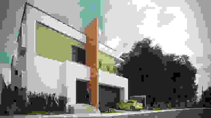 Fachada Casas minimalistas de Constructora e Inmobiliaria Catarsis Minimalista Ladrillos