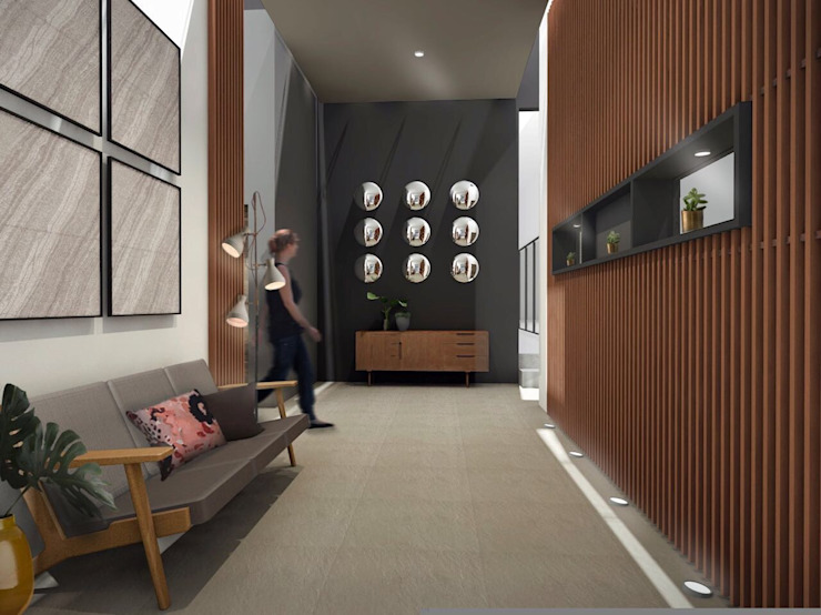 Vestíbulo Constructora e Inmobiliaria Catarsis Pasillos, vestíbulos y escaleras de estilo minimalista Madera Beige