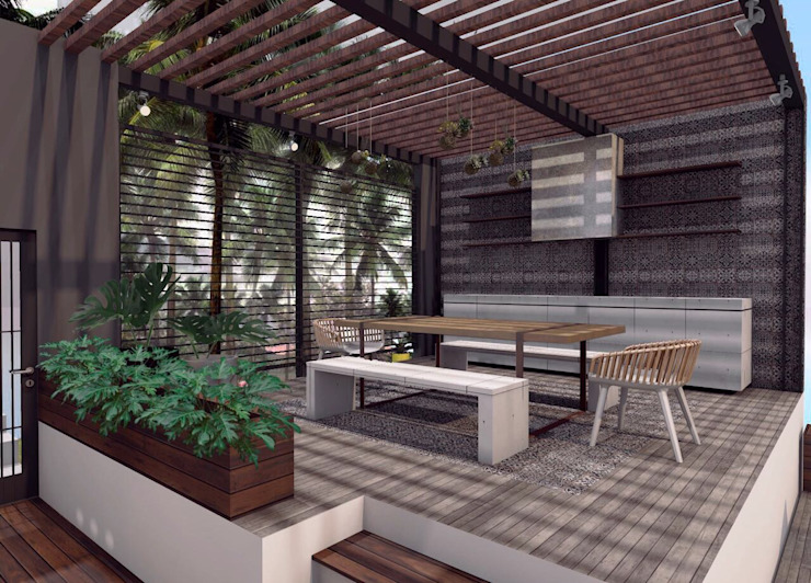 Terraza Balcones y terrazas minimalistas de Constructora e Inmobiliaria Catarsis Minimalista Concreto