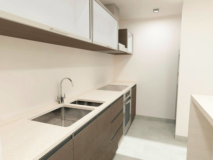 NB INTERIORES Modern kitchen Engineered Wood Wood effect