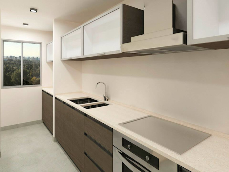 Proyecto 3D Cocina Modern Kitchen by NB INTERIORES Modern Engineered Wood Transparent