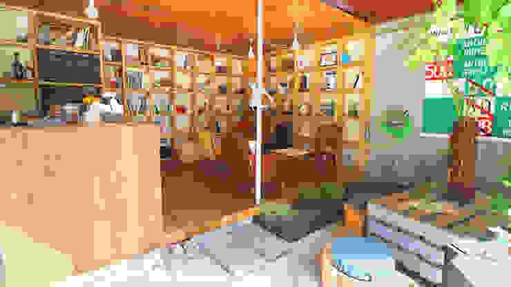 INTERIOR BOOKWORM CAFE Oficinas y tiendas de estilo ecléctico Hormigón Acabado en madera
