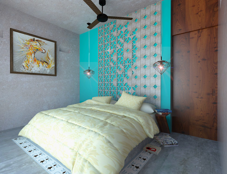 homify Rustic style bedroom Concrete Turquoise