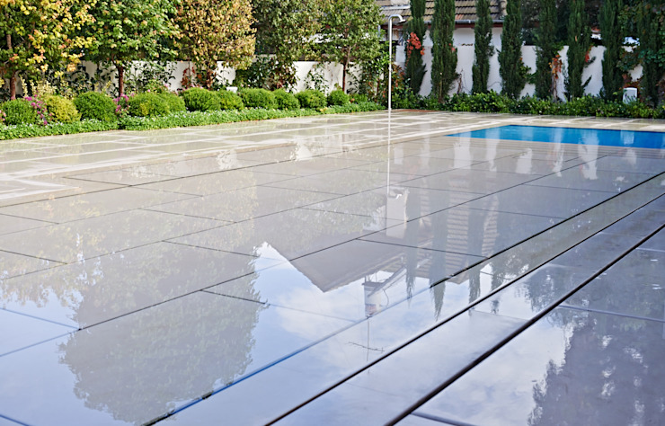 Stone covered Movable Floors Modern Pool by AGOR Engineering Modern