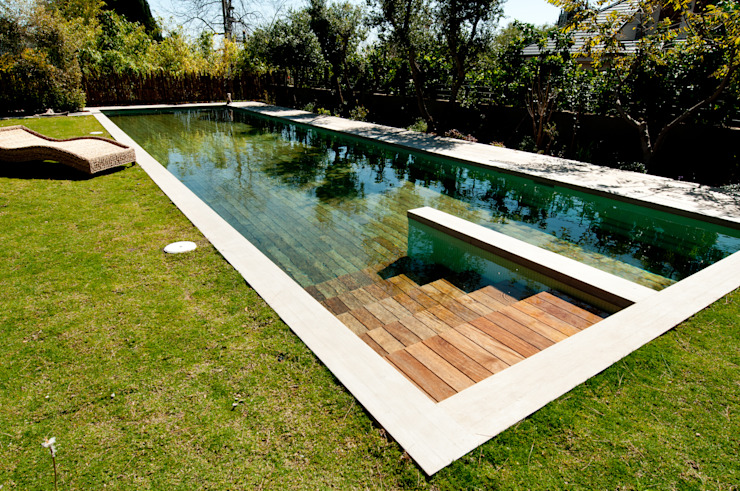 Wood deck Covered Movable Floor Modern Pool by AGOR Engineering Modern