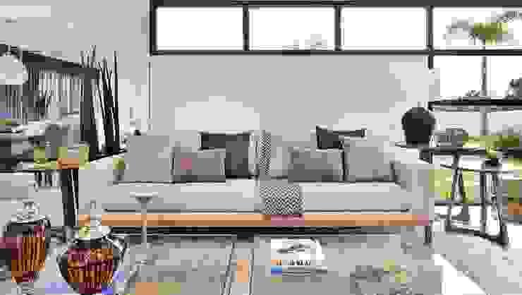 Carolina Bernardi Arquiteta Moderne Wohnzimmer Holz Beige