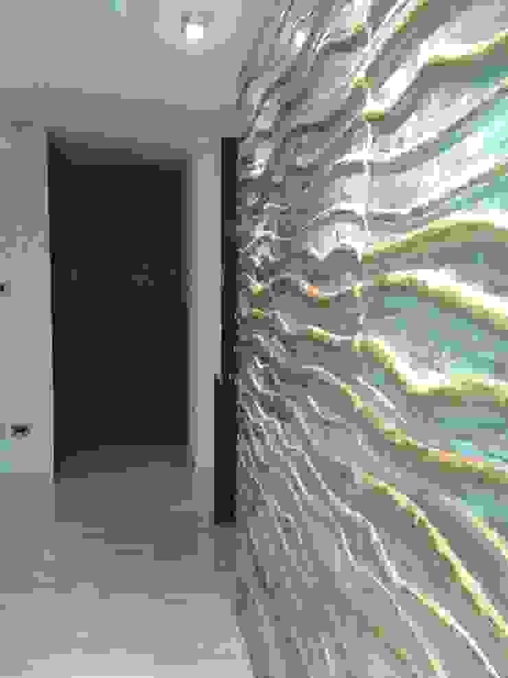 CelyGarciArquitectos Вітальня Інженерне дерево Металевий / срібло